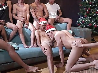 Red Hot Festivities Ch. 1: The Threesome Before Christmas twink bareback blowjob
