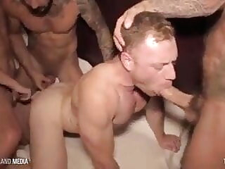 Seven cocks unloading deep inside his hole bareback big cock bukkake